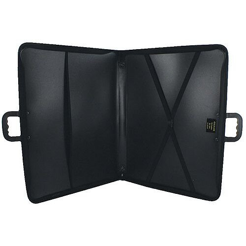 Goldline A3 Zip Portfolio Black ZPC/A3 - Strong, lightweight case for carrying and protecting work - Heavy zip to prevent work falling out - Interior pocket and crossover elastic straps keep work secure