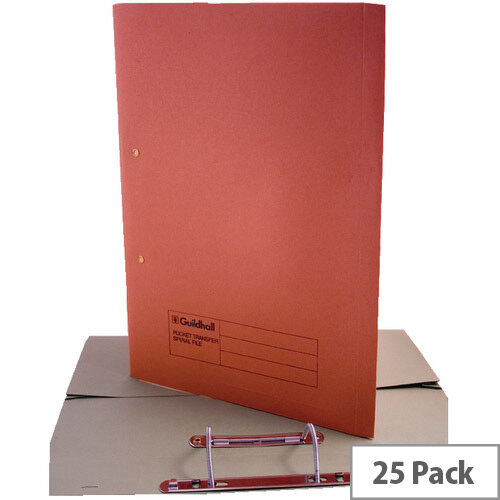 Guildhall Super Heavyweight Pocket Spiral File Orange 211/6004 Pack 25