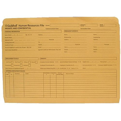 Guildhall Pre-Printed HR File Yellow 211/1300Z Pack of 50