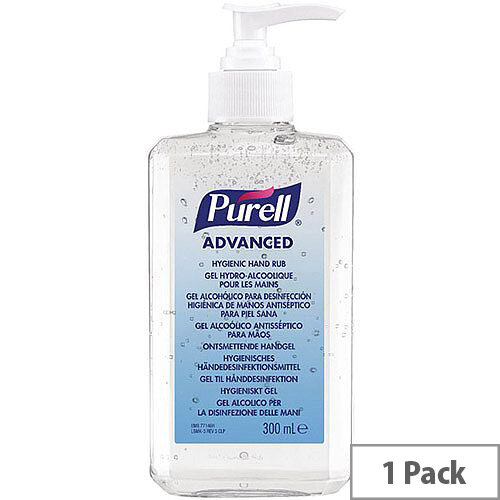 Purell Advanced Hygienic Hand Sanitiser Hand Rub Gel 300ml Bottle (Pack 1)