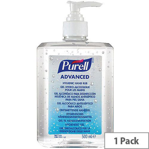 Purell Advanced Hygienic Hand Sanitiser Hand Rub Gel 500ml (Pack 1) 9268-12-EEU00