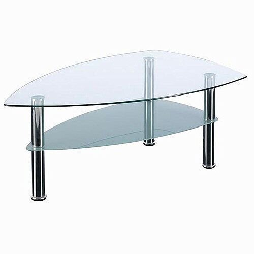 Boat Shaped Two Tier Glass &Chrome Coffee Table