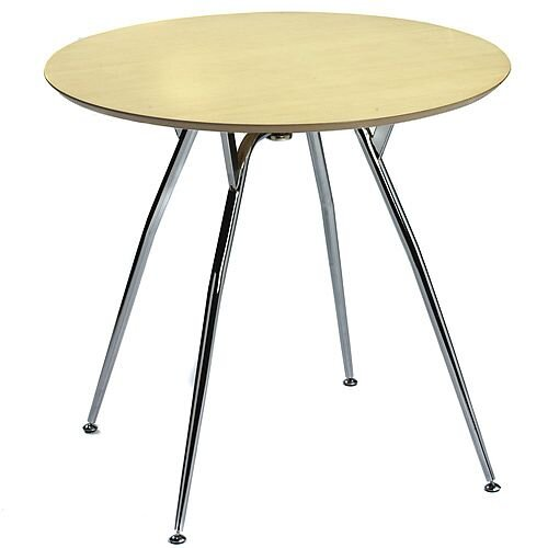 Mile Small Round Table 800mm Diameter Maple Top &Chrome Legs