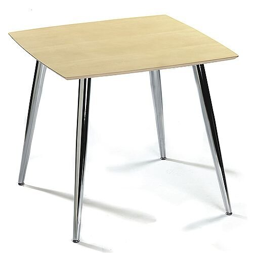 Milano Square Canteen Table Maple Top &Chrome Legs