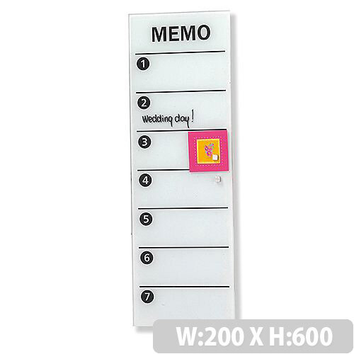 Franken Glass Magnetic Memo Board 200x600mm White GTM206009