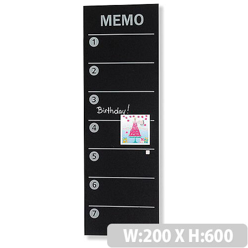 Franken Glass Magnetic Memo Board 200x600mm Black GTM206010