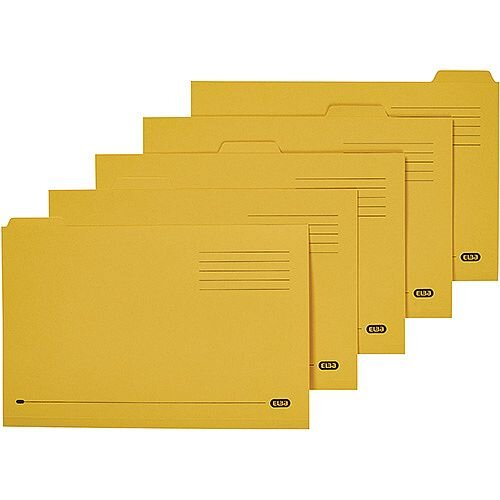 Elba Tabbed Folder Foolscap Yellow 20619 Pack 100