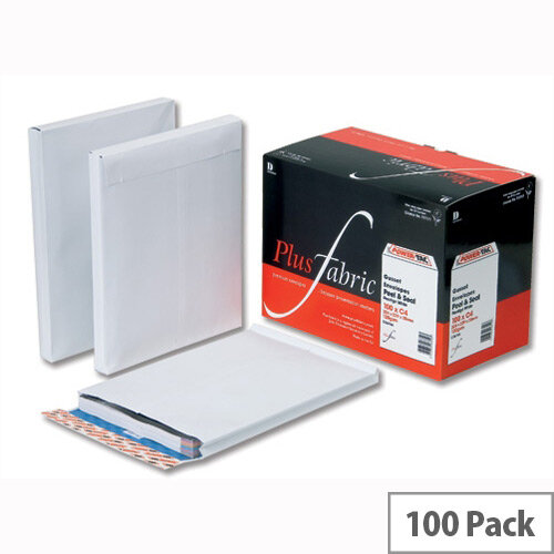 Plus Fabric Gusset Envelopes 381x254x25mm Peel and Seal 120gsm White Pack of 100