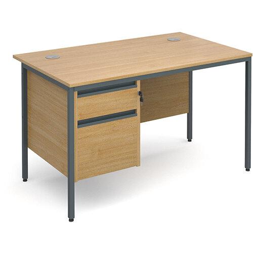 Maestro H-Frame straight desk with 2 drawer pedestal 1228mm - oak