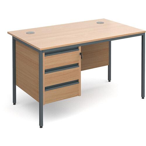 Maestro H-Frame straight desk with 3 drawer pedestal 1228mm - beech