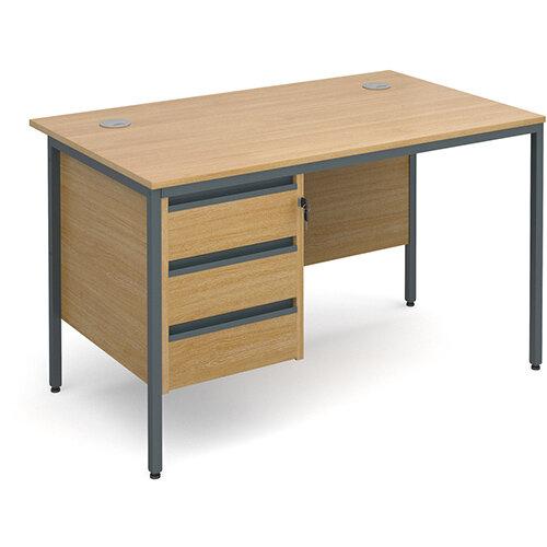 Maestro H-Frame straight desk with 3 drawer pedestal 1228mm - oak