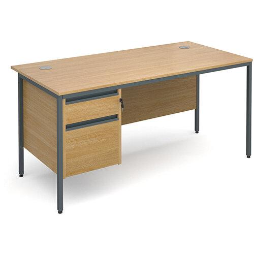 Maestro H-Frame straight desk with 2 drawer pedestal 1532mm - oak