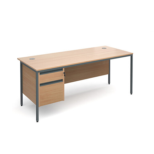 Maestro H-Frame straight desk with 2 drawer pedestal 1786mm - beech