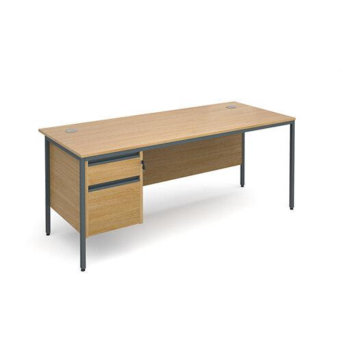 Maestro H-Frame straight desk with 2 drawer pedestal 1786mm - oak