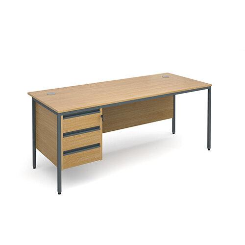 Maestro H-Frame straight desk with 3 drawer pedestal 1786mm - oak