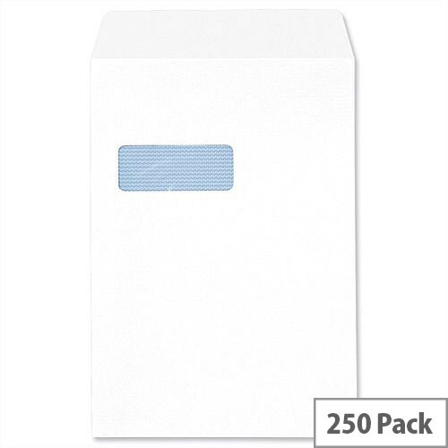 C4 Window White Envelopes Pocket  Press Seal 90gsm 5 Star (Pack 250)