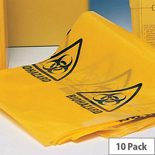 """Bio Hazard Yellow Clinical Waste Bags (Printed) 11"""" x 17"""" x 26"""" Roll of 10"""