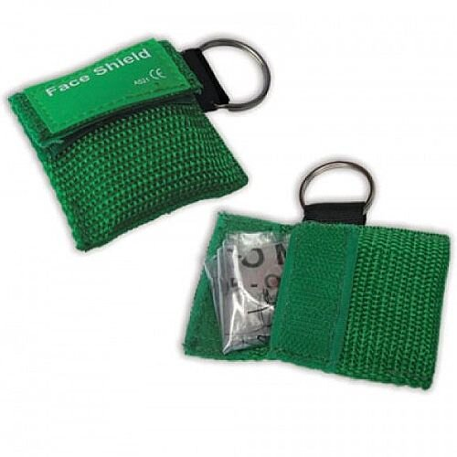 CPR Face Mask Resuscitator Green Key Ring Pouch 5001030