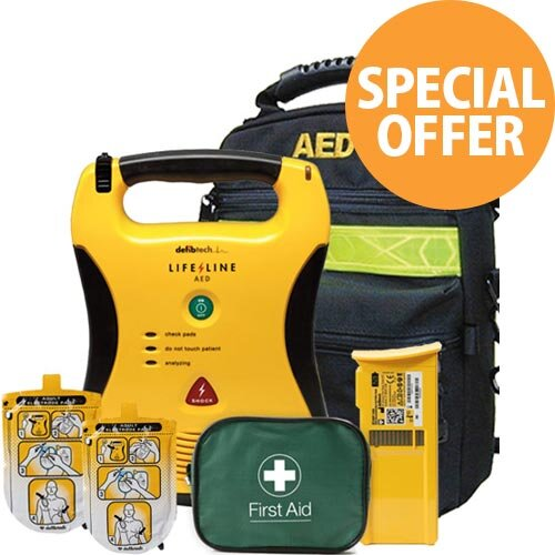 Defibtech Lifeline AED Semi-Automatic Defibrillator 5 Year Battery Special Offer Bundle
