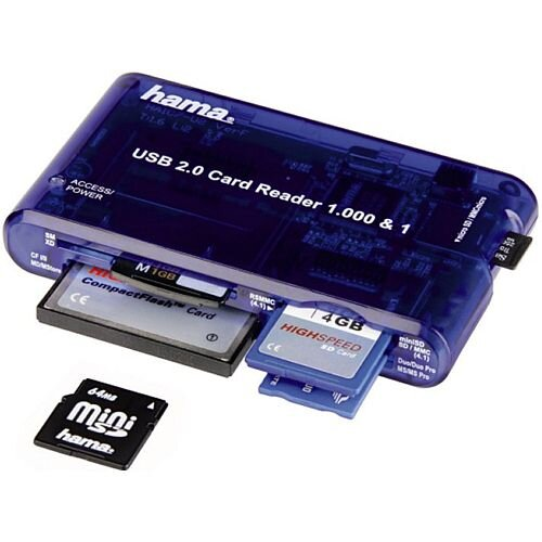 Hama 35-in-1 Supports USB 2.0 Multicard Reader HighSpeed, Compatible with 35 types of cards, High speed data transfer with up to 20 MB/s, USB Powered, Colour: Blue