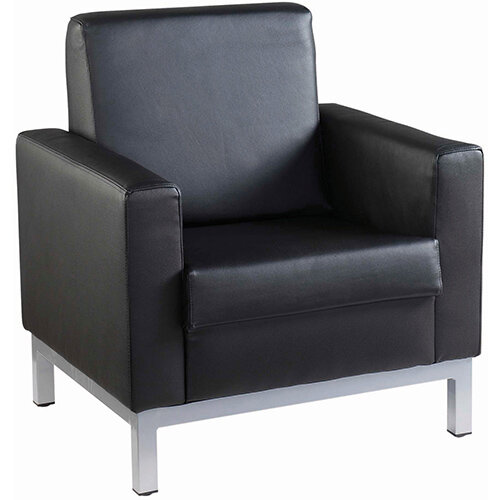 Helsinki square back reception single tub chair 800mm wide - black leather faced