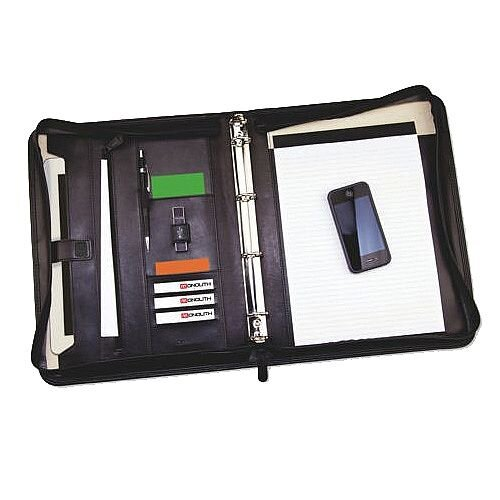Monolith 2924 Black Leather Zipped Conference Folder - 4-ring stylish conference folder - Internal pockets for unpunched paper, discs and business cards, space for A4 pad