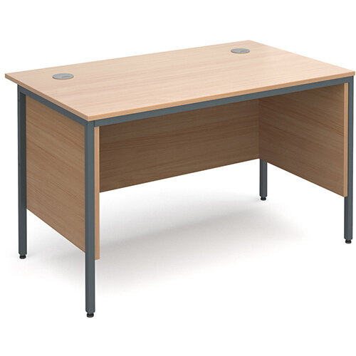 Maestro H-Frame straight desk with side panels 1228mm - beech