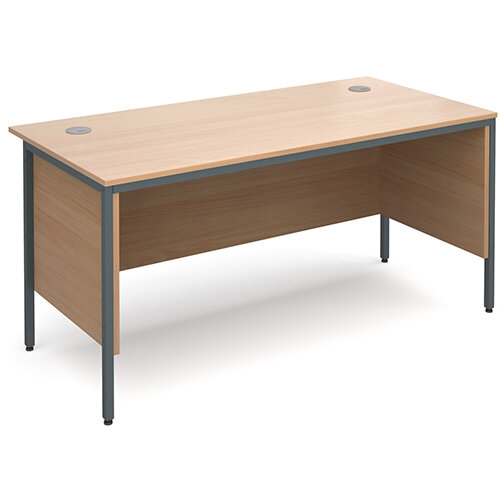Maestro H-Frame straight desk with side panels 1532mm - beech