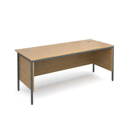 Maestro H-Frame straight desk with side panels 1786mm - oak
