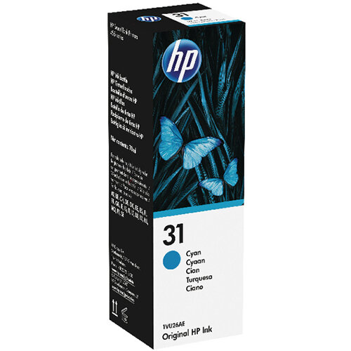 HP 31 70ml Cyan Ink Bottle 1VU26AE