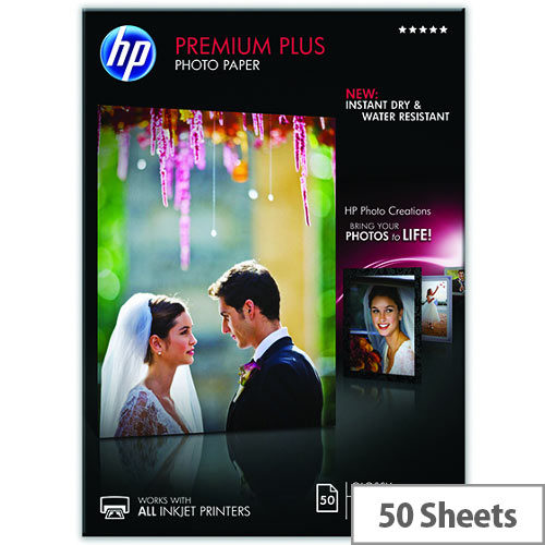 HP A4 Premium Plus Inkjet Photo Paper  Glossy 300gsm (Pack of 50)