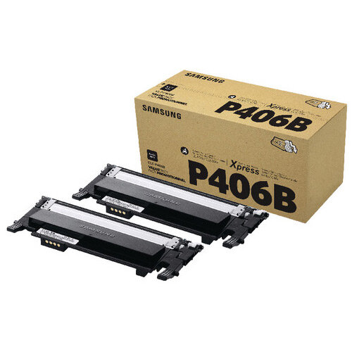 Samsung CLT-P406B Black Standard Yield Toner Cartridges Pack of 2 SU374A