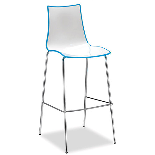 Gecko Blue Shell Canteen &Breakout Stool with Chrome Legs