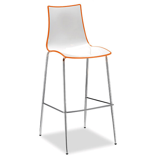 Gecko Orange Shell Canteen &Breakout Stool with Chrome Legs