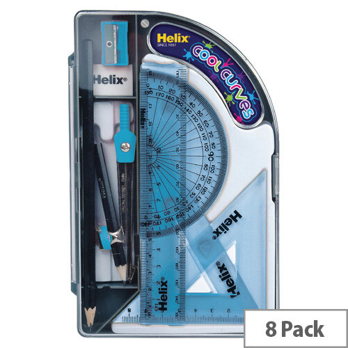 Helix Cool Curves Maths Set Pack of 8 HX3595