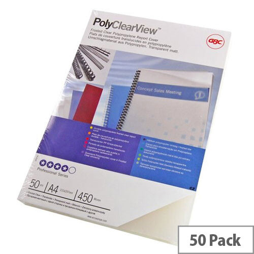 GBC A4 Polypropylene Clearview Binding Covers Frosted Clear Pack of 50 IB387159