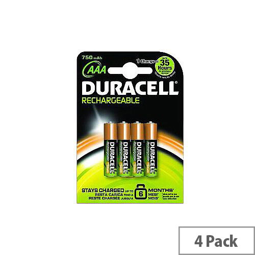Duracell Multipurpose Battery 750 mAh AAA Nickel Metal Hydride (NiMH) 1.2 V DC Rechargeable 4 / Pack