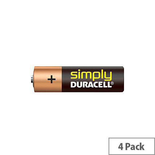 Duracell Simply MN1500 Multipurpose Battery AA Alkaline Manganese Dioxide 1.5 V DC 4 Pack