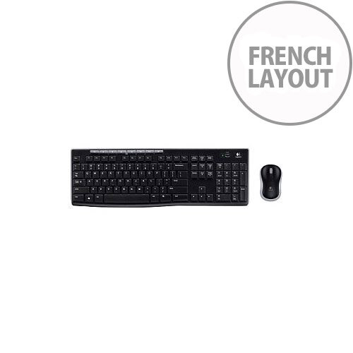 Logitech Wireless Combo MK270 Keyboard &Mouse USB Wireless RF Keyboard French USB Wireless RF Mouse Optical 3 Button Scroll Wheel PC
