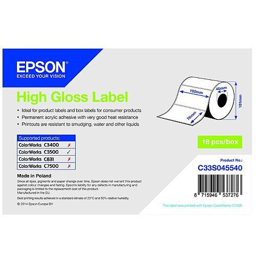 Epson Multipurpose Label 102mm Width x 76mm Length Rectangle Inkjet 415 Label