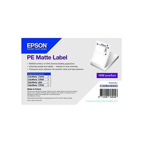 Epson Multipurpose Label Water Based Adhesive 203mm Width x 152mm Length Inkjet Acrylic, Polyethylene, Synthetic 1000 Label