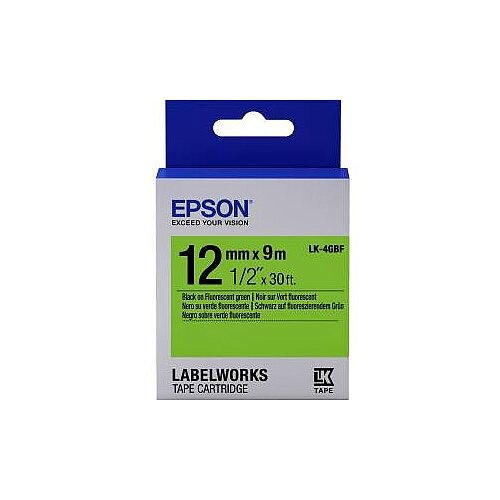Epson Label Tape 12mm Width x 9m Length Fluorescent Green C53S654018 LK-4GBF
