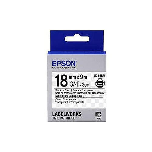 Epson LabelWorks LK-5TBN Label Tape 18mm Width x 9m Length Thermal Transfer Transparent 1 Roll C53S655008