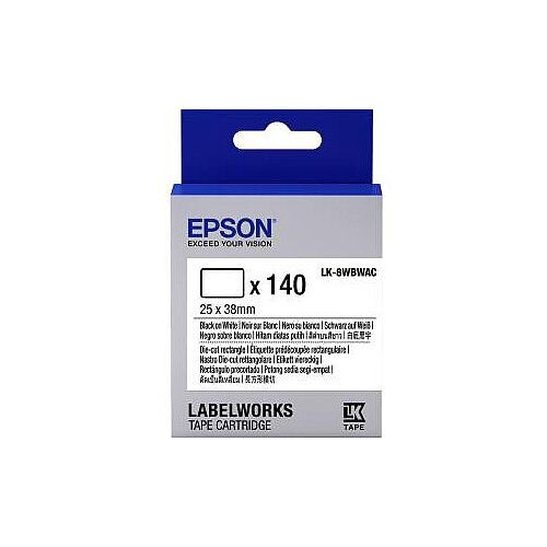 Epson LabelWorks LK-8WBWAC Label Tape 25mm Width x 38mm Length 140 / Cartridge Rectangle Thermal Transfer White C53S658903