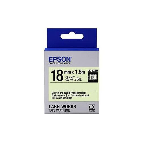 Epson LabelWorks LK-5ZBU Label Tape 18mm Width x 1500mm Length Thermal Transfer Glow C53S655015