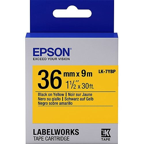 Epson LabelWorks LK-7YBP Label Tape 36mm Width x 9m Length Thermal Transfer Pastel Yellow 1 Roll C53S657005