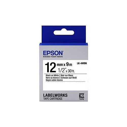 Epson Label Tape 12mm Width x 9m Length White C53S654021