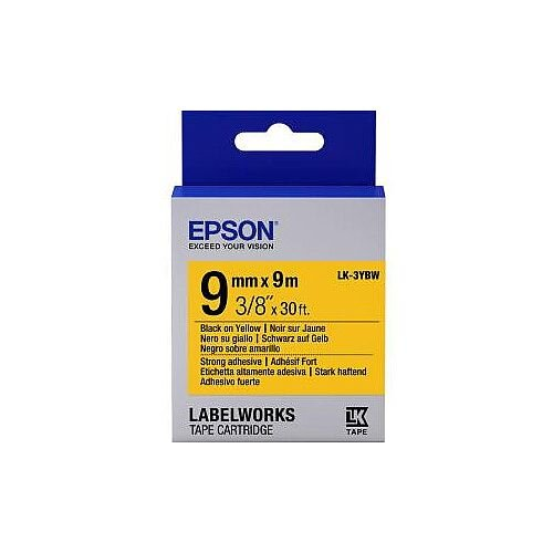 Epson LabelWorks LK-3YBW Label Tape 9mm Width x 9m Length Thermal Transfer Yellow C53S653005