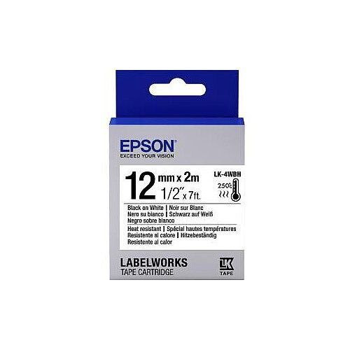 Epson LabelWorks LK-4WBH Label Tape 12mm Width x 2000mm Length Thermal Transfer White C53S654025