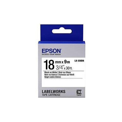 Epson LabelWorks LK-5WBN Label Tape 18mm Width x 9m Length Thermal Transfer White C53S655006